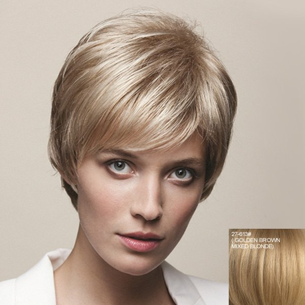 Vogue Side Bang Dynamic Short Straight Capless Real Natural Hair Wig For Women - GOLDEN BROWN/BLONDE