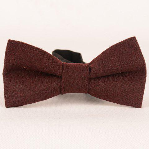 Stylish Men's Solid Color Faux Wool Bow Tie - DARK RED
