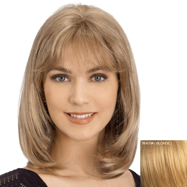 Charming Straight Slightly Curled Capless Nobby Long Side Bang Women's Human Hair Wig - BLONDE