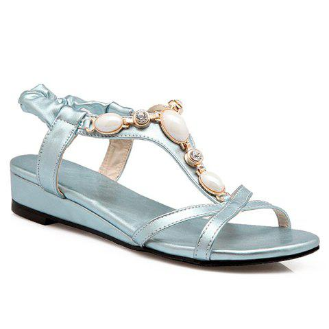 Fashionable Elastic and Beading Design Women's Sandals - LIGHT BLUE 38