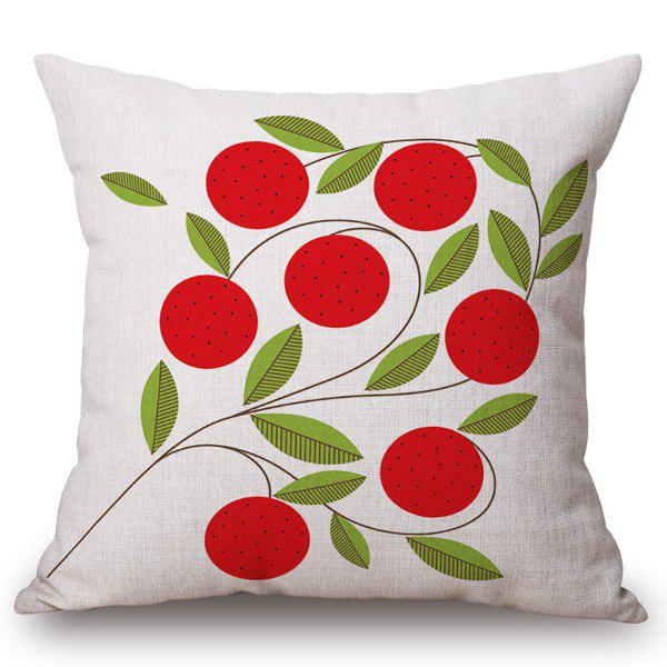 Fashion Red Plants Pattern Square Shape Flax Pillowcase (Without Pillow Inner)