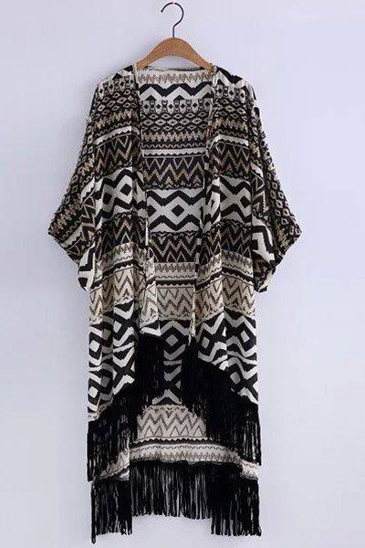 Ethnic Style Collarless Batwing Sleeve Geometric Print Tassels High-Low Hem Women's Kimono - BLACK ONE SIZE(FIT SIZE XS TO M)
