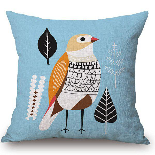 Fashion Abstract Bird Pattern Square Shape Flax Pillowcase (Without Pillow Inner) - AZURE
