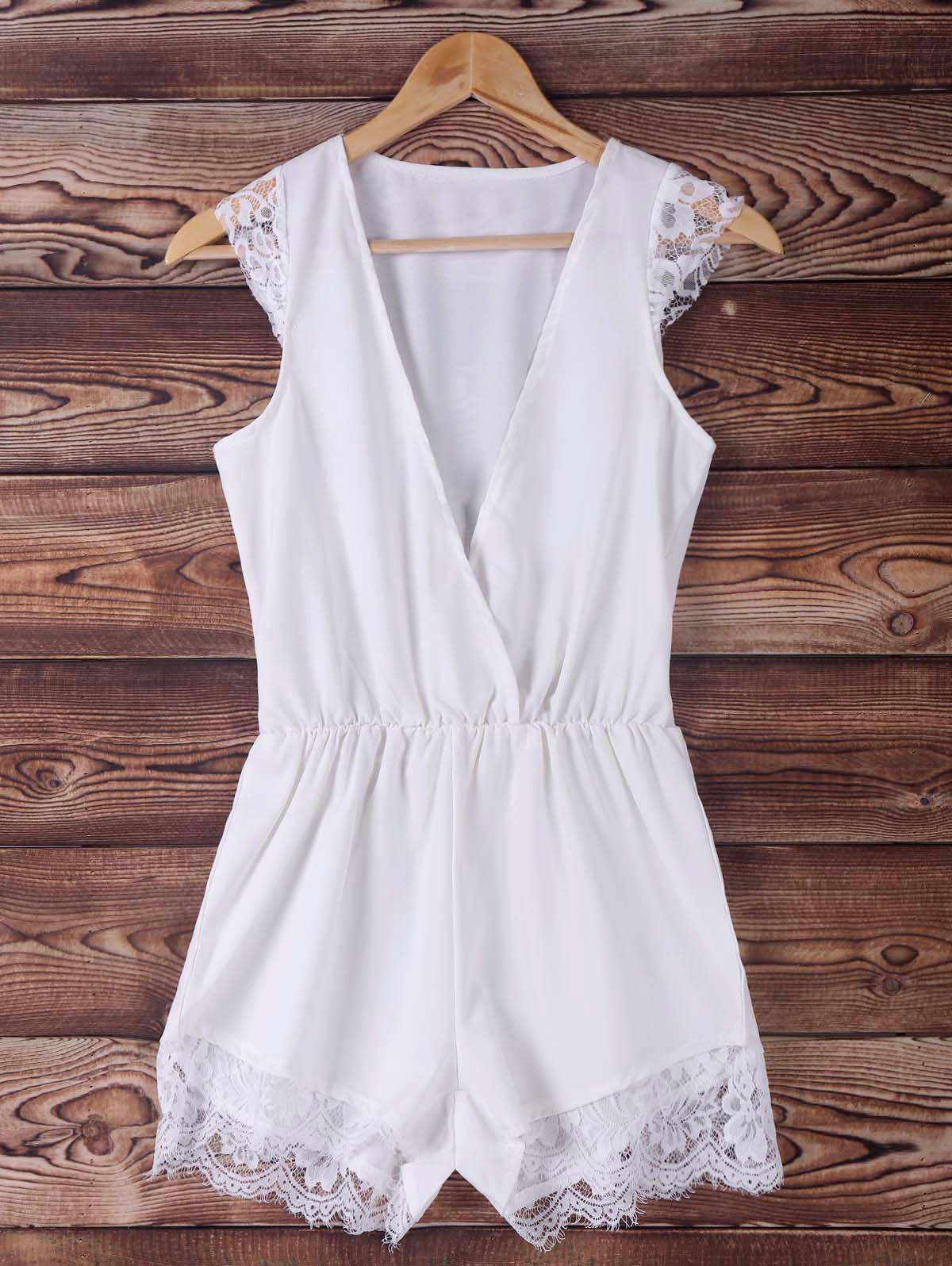 Chic Women's Plunging Neck White Lace Spliced Sleeveless Romper - WHITE L