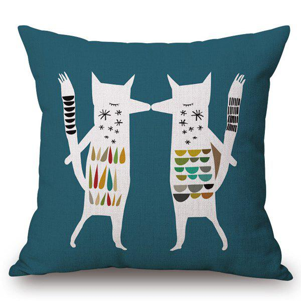 Fashion Abstract Fox Pattern Square Shape Flax Pillowcase (Without Pillow Inner) - COLORMIX
