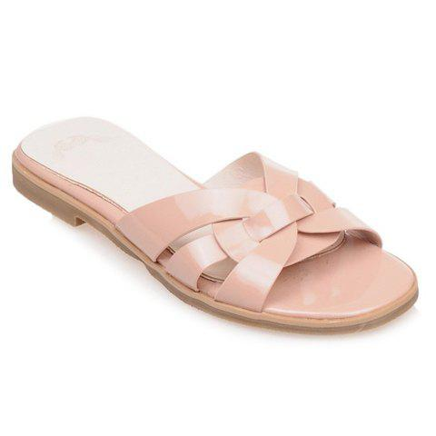 Casual Flat Heel and Patent Leather Design Women's Slippers - APRICOT 36