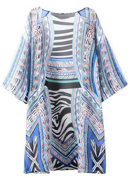 Retro Style Collarless Batwing Sleeve Zebra Stripe Loose Women's Cover-Up Cardigan - COLORMIX XL