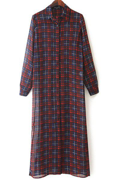 Trendy Plaid Long Sleeve Shirt For Women - COLORMIX L