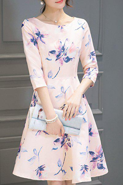 Graceful 3/4 Sleeve Round Neck Floral Print Women's Dress - SHALLOW PINK S