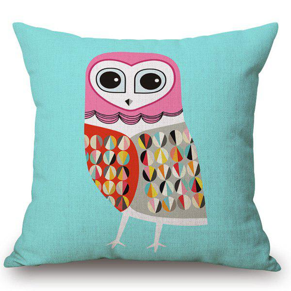 Fashion Abstract Night Owl Pattern Square Shape Flax Pillowcase (Without Pillow Inner) - TIFFANY BLUE
