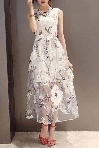 Flower Print See-Through Midi Dress - WHITE L