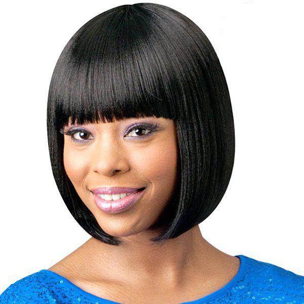 Bob Style Short Black Sweet Full Bang Straight Capless Human Hair Wig For Women - BLACK