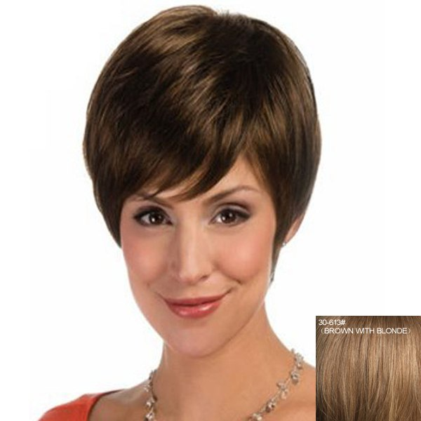 Fashion Straight Capless Elegant Short Haircut Side Bang Women's Human Hair Wig цены