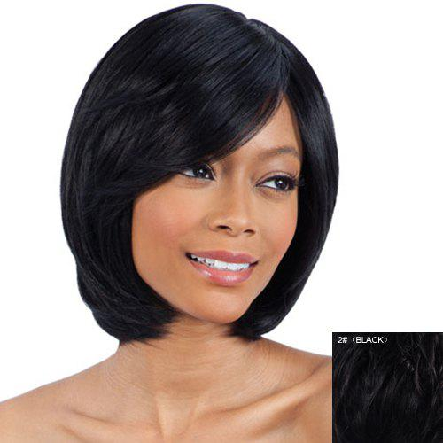 Stylish Straight Short Ladylike Inclined Bang  Human Hair Wig - BLACK