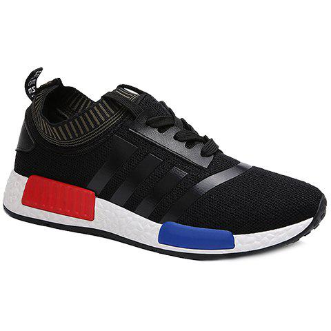 Fashionable Lace-Up and Striped Design Men's Athletic Shoes - BLACK 40