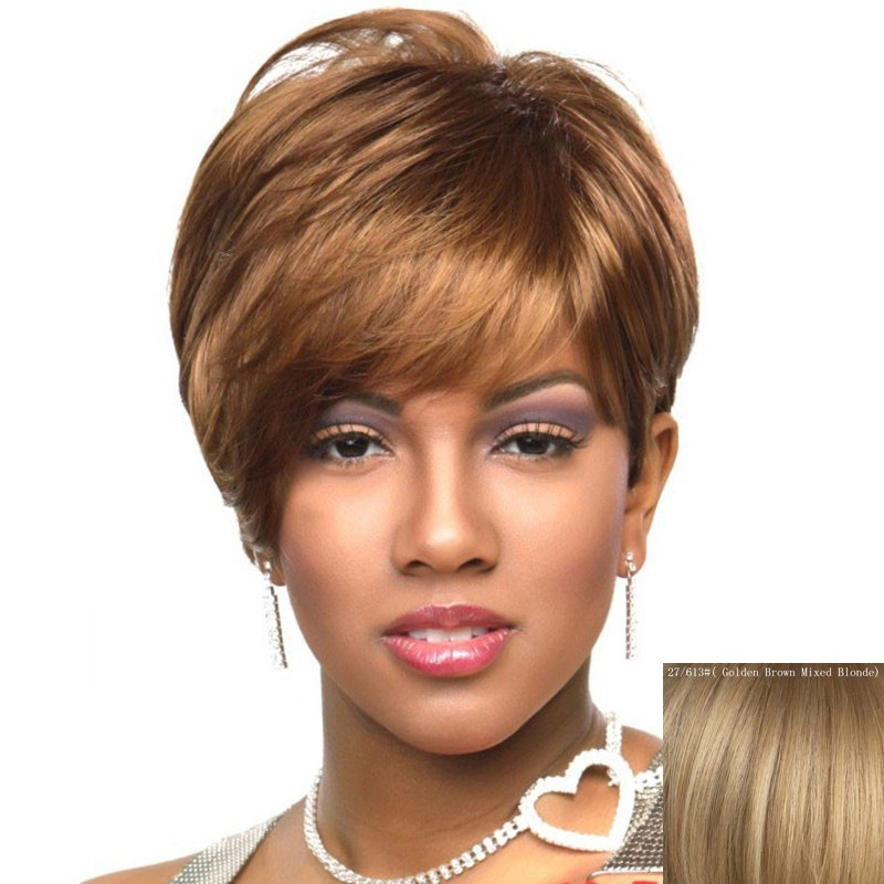 Fluffy Natural Straight Side Bang Spiffy Short Layered Capless Human Hair Wig For Women - GOLDEN BROWN/BLONDE