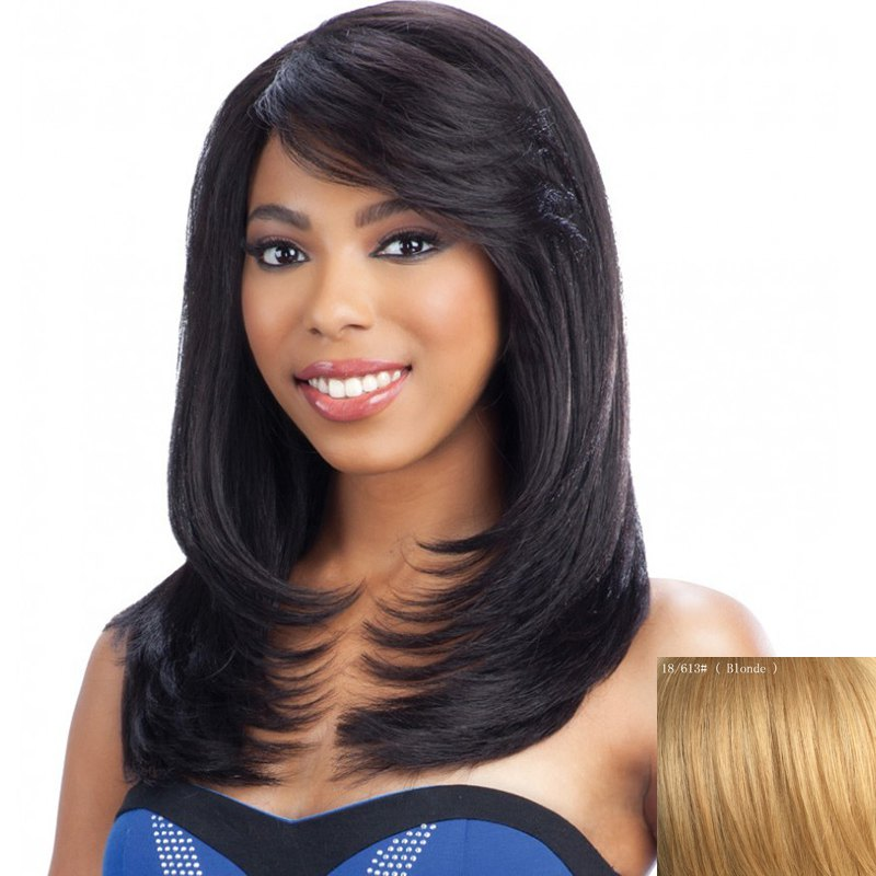 Nobby Straight Slightly Curled Capless Elegant Long Layered Side Bang Human Hair Wig For Women - BLONDE