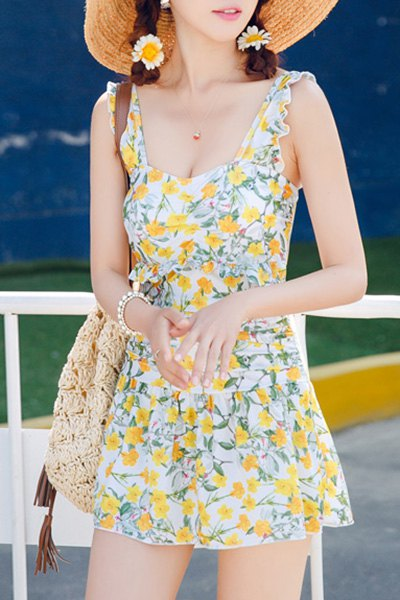 Charming Floral Print Flounced One-Piece Dress Swimwear For Women - YELLOW M