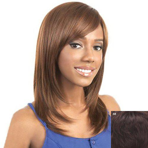 Graceful Side Bang Straight Trendy Medium Layered Capless Real Human Hair Wig For Women - MEDIUM BROWN