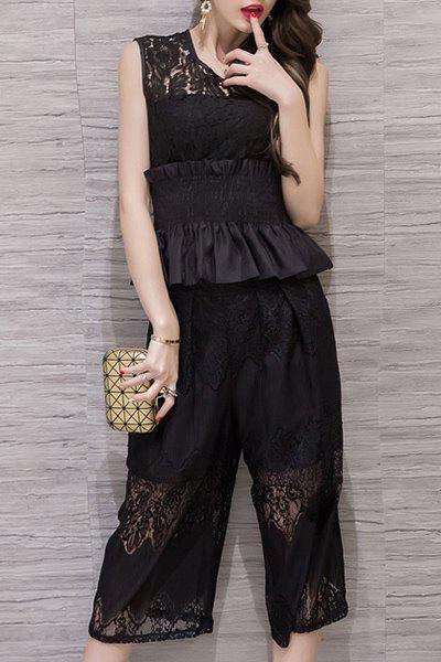 Chic V-Neck Black Tank Top and Lace Spliced Capri Pants Twinset For Women