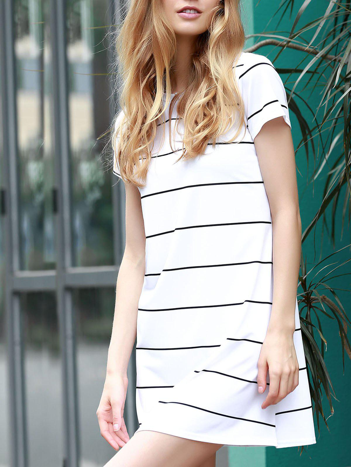 Trendy Short Sleeve Round Collar Loose-Fitting Striped Women's Dress - WHITE M