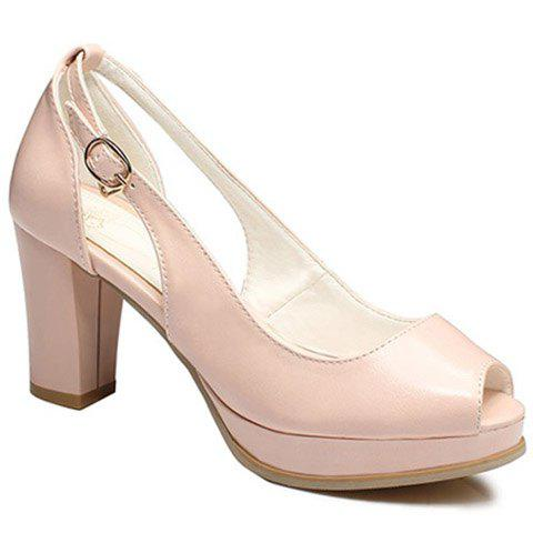 Buckle mode et Peep Toe Shoes creux Out Design Femmes - ROSE PÂLE 39