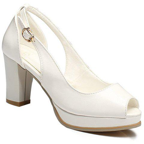 Fashionable Buckle and Hollow Out Design Women's Peep Toe Shoes - WHITE 39