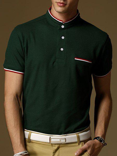 Slim Fit Short Sleeves Striped Design Polo T-Shirt For Men - GREEN L