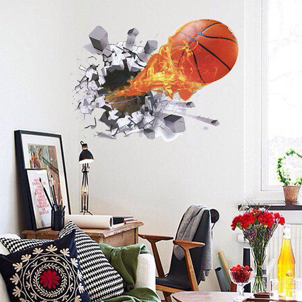 Chic Quality 3D Basketball Fire Pattern Removeable Wall Stickers - COLORMIX