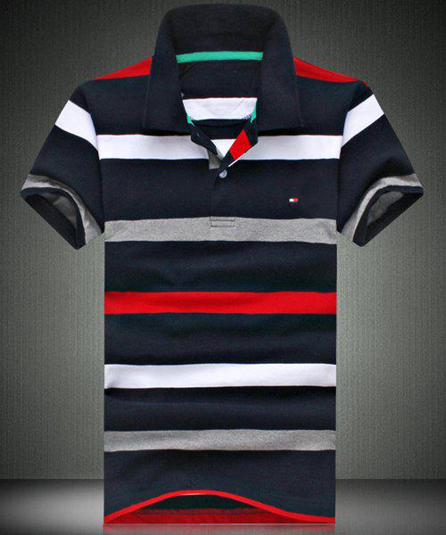 Slim Fit Striped Short Sleeves Polo T-Shirt For Men - CADETBLUE M