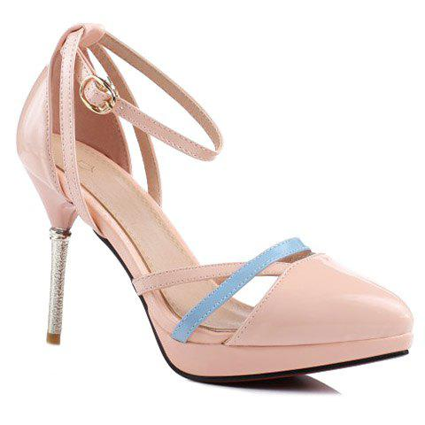 Fashionable Colour Block and Patent Leather Design Women's Pumps - PINK 39