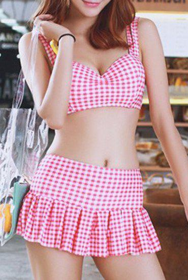 Preppy Style Women's Sweetheart Neck Checked Two Piece Swimsuit - PINK M