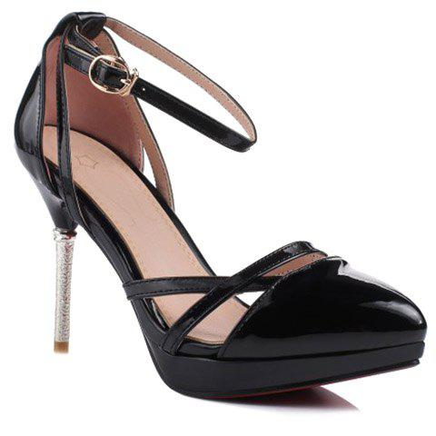 Stylish Platform and Black Color Design Women's Pumps - BLACK 39