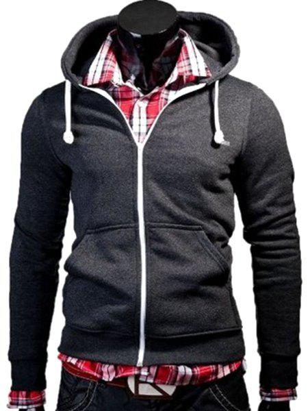 Color Block Zipper Fly Front Pocket Hooded Long Sleeves Men's Hoodie - DEEP GRAY M