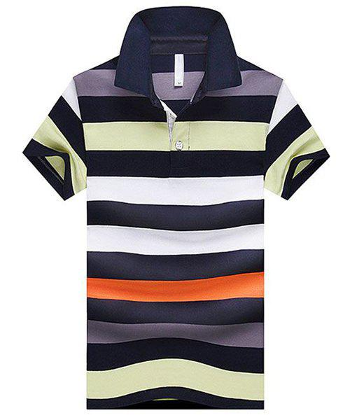 Stripe Turn-Down Collar Color Block Splicing Design Short Sleeve Men's Polo T-Shirt