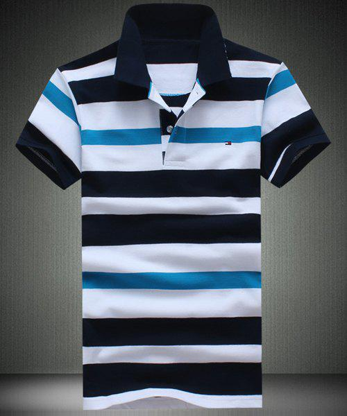 Slim Fit Men's Short Sleeves Striped Polo T-Shirt