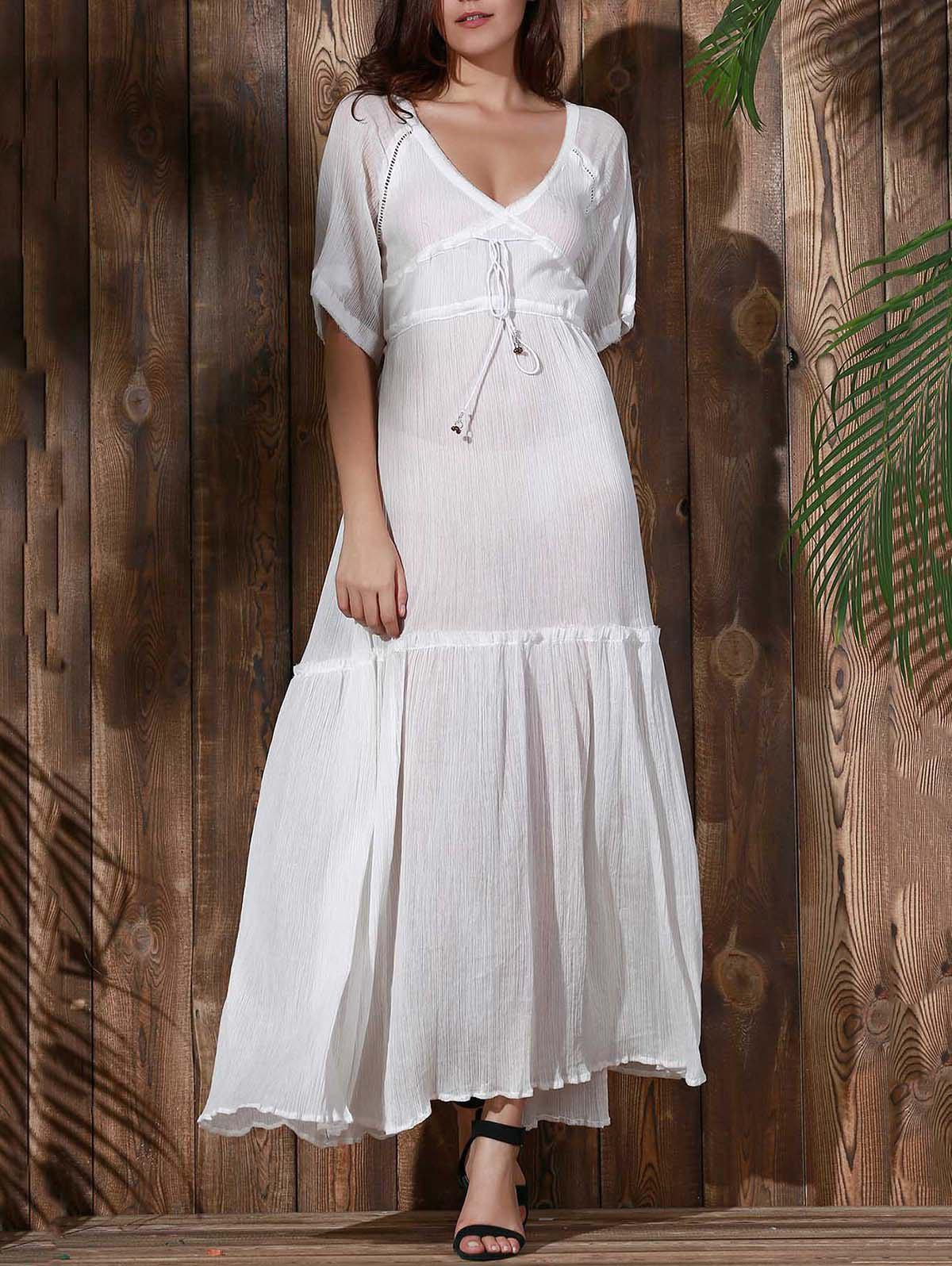 Bohemian Plunging Neck Solid Color Hollow Out Women's Dress - WHITE M