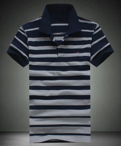 Slimming Men's Short Sleeves Striped Polo T-Shirt