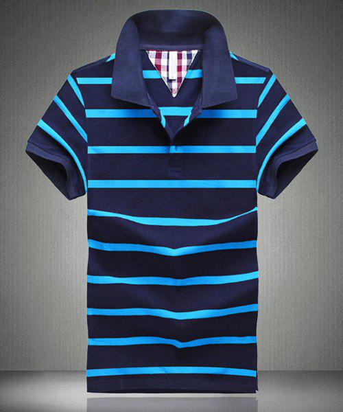 Turn-Down Collar Short Sleeve Stripe Design Men's Polo T-Shirt - BLUE L