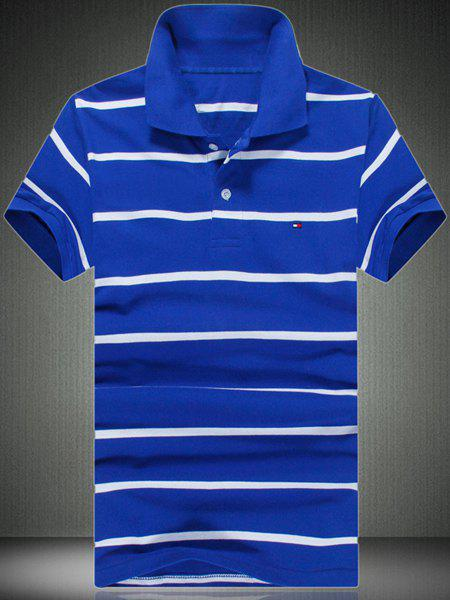 Slimming Men's Striped Short Sleeves Polo T-Shirt - BLUE M
