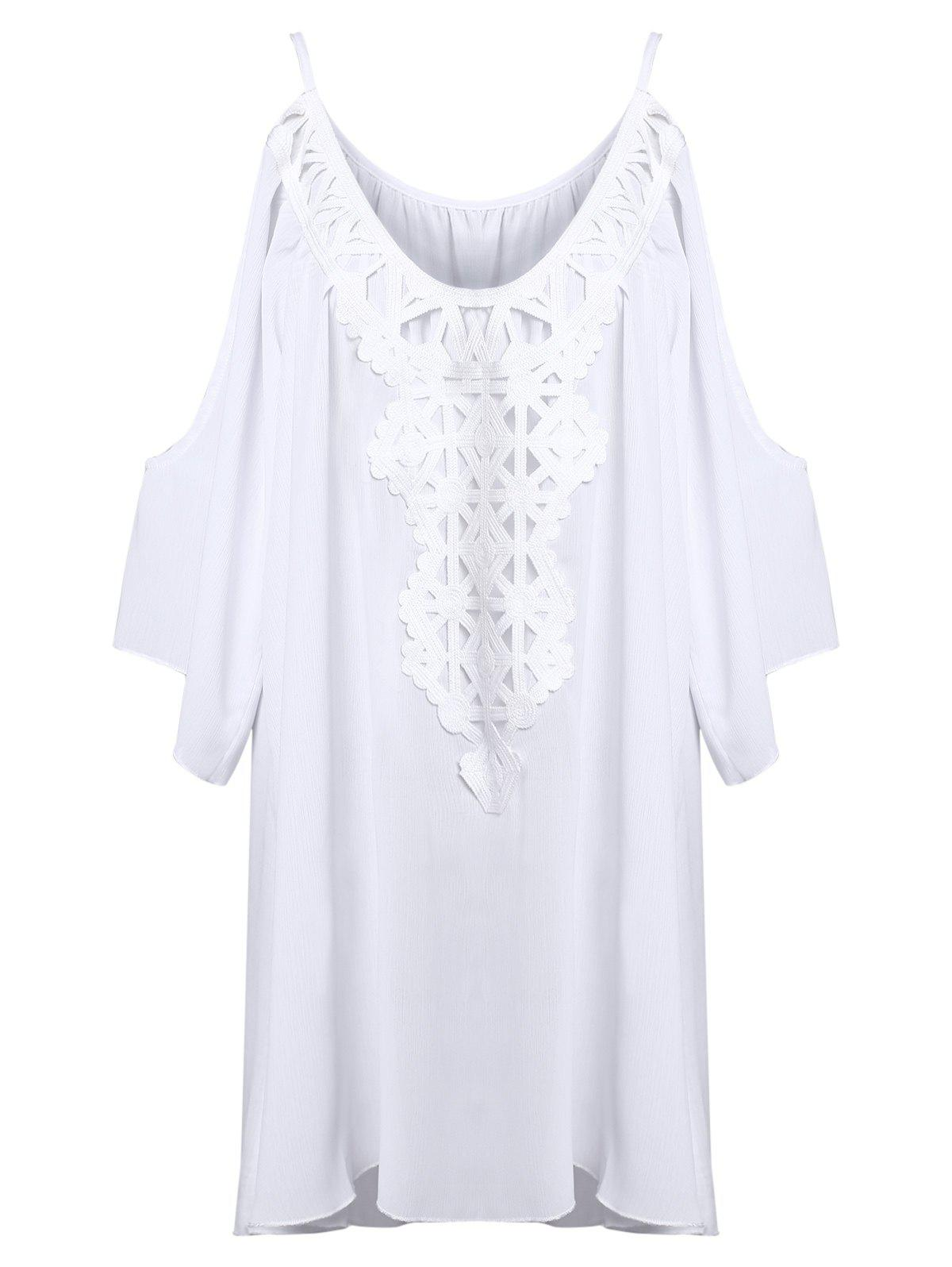 Cold Shoulder Bat Sleeve Lace Panel Dress - WHITE S