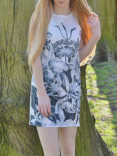 Casual Floral Printed Round Neck Sleeveless Dress For Women - WHITE S