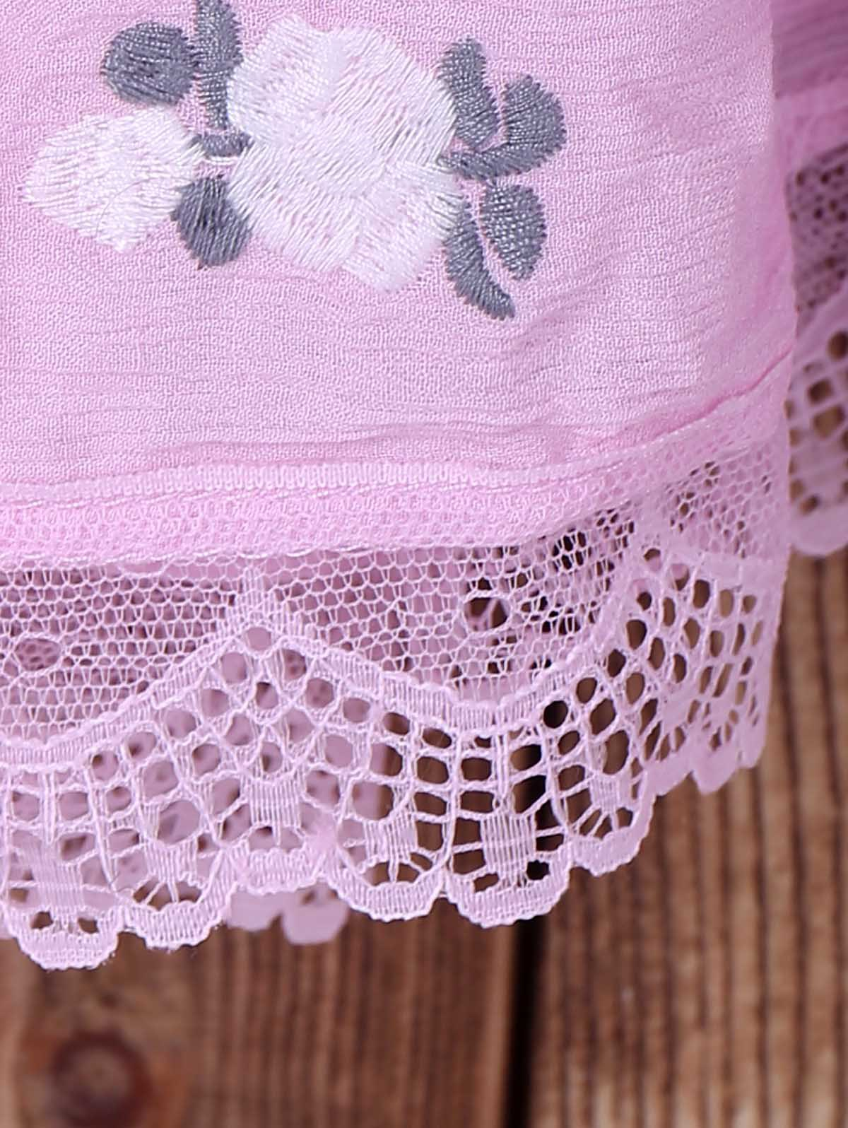 Fashionable Short Sleeve Plunging Neck Lace Spliced Embroidered Women's Dress - LIGHT PINK M