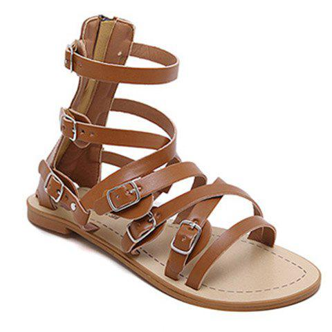 Leisure Cross Straps and Buckles Design Women's Sandals - BROWN 39