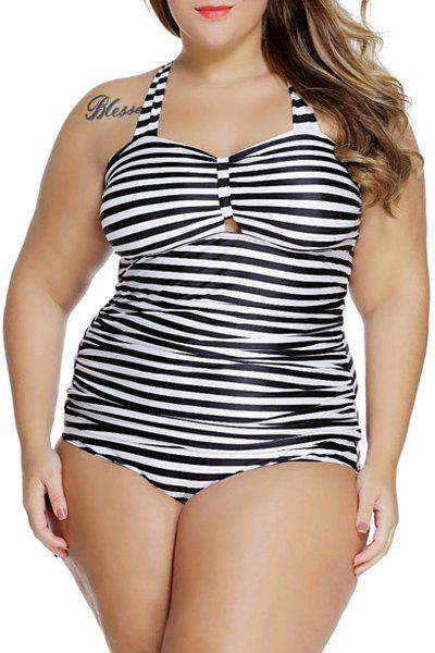 Trendy Lace-Up Hollow Out Stripe Print Women's Swimsuit