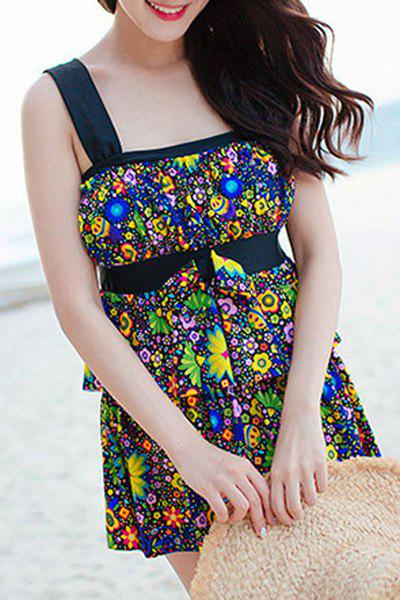 Stylish High Waist Layered Tank Top With Boxers Suit For Women - BLACK 2XL