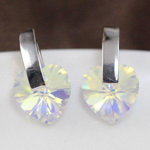 Pair of Charming Faux Crystal Heart Stud Earrings For Women - SILVER
