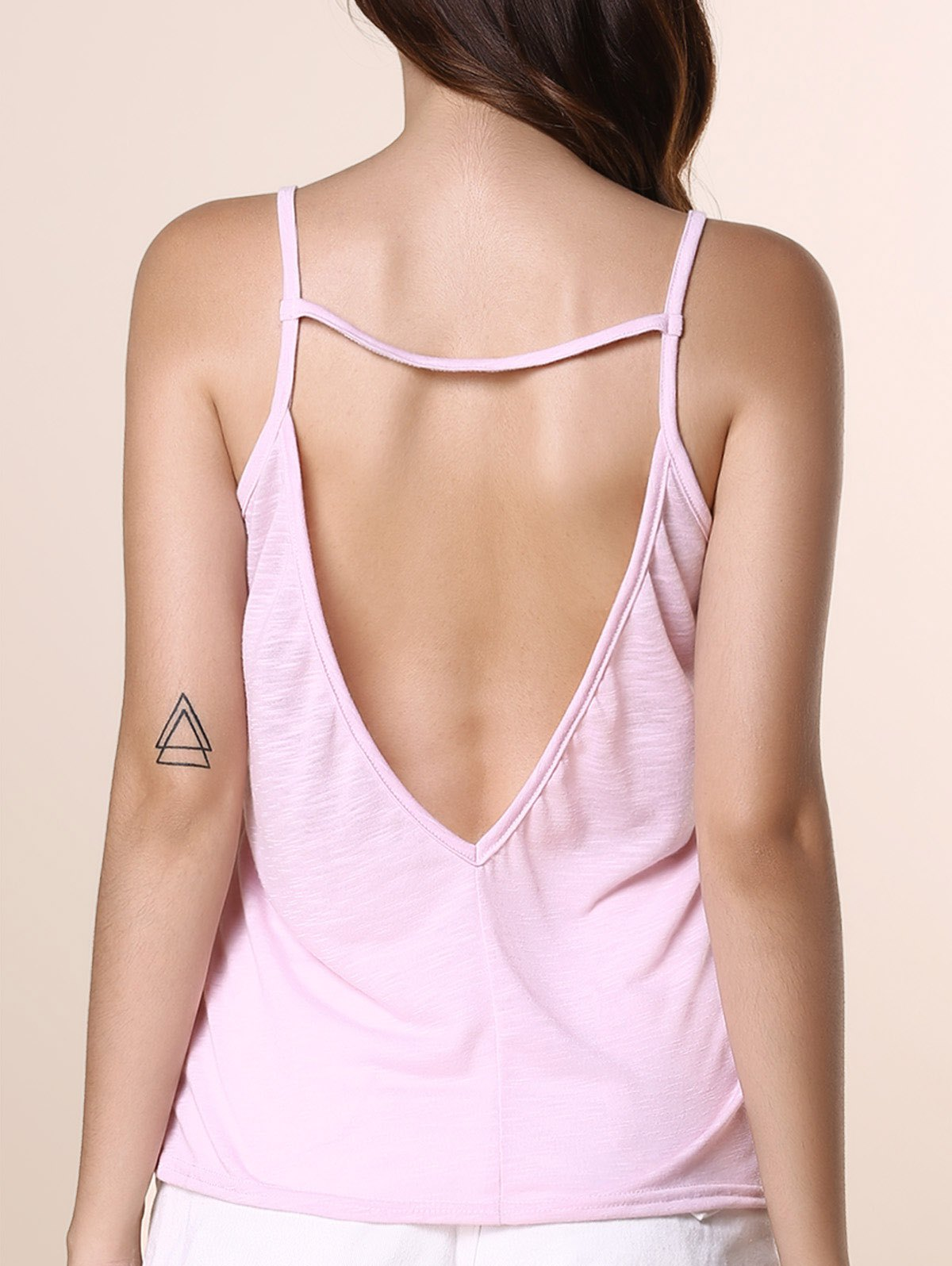 Brief Women's Spaghetti Strap Open Back Solid Color Tank Top - PINK S