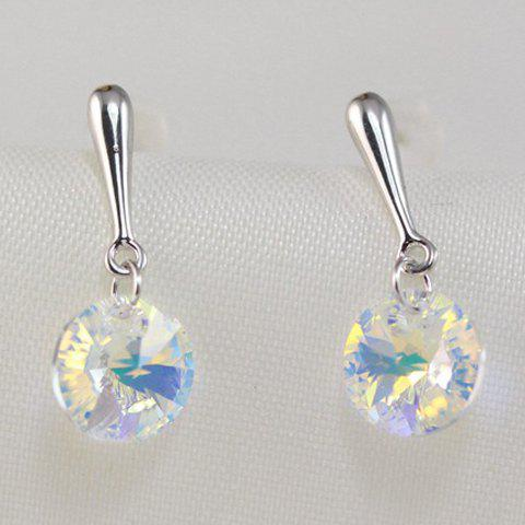 Pair of Round Faux Crystal Earrings - SILVER