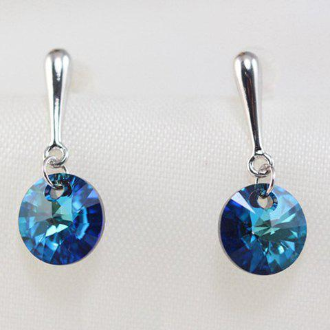 Pair of Circle Faux Sapphire Earrings - BLUE